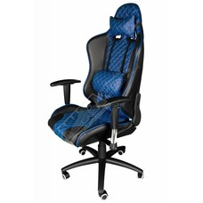 Cryo-PC Blue and Black Leather High Back Ergonomic Racing Style Swivel Gaming Chair