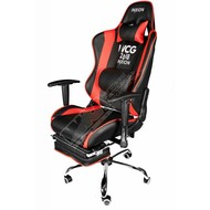 Cryo-PC Black and Red Leather Ergonomic Racing Style Swivel Gaming Chair with Retractable Foot Rest