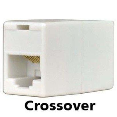 RJ45 Cat5 Ethernet Crossover Coupler Adapter Female Female, Beige