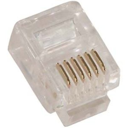 RJ12 (6P6C) Plug for Solid Round Wire 100pk