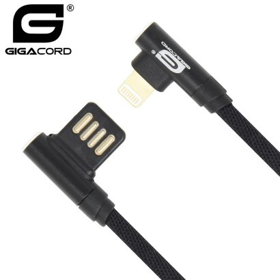 Gigacord 3Ft Gigacord iPhone Right-Angle, Right-Angle USB Charging Cable Black Nylon