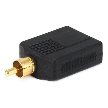 RCA Plug to 2 x 6.35mm (1/4 Inch) Stero Jack Splitter Adaptor Gold Plated