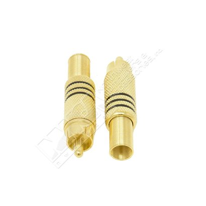 RCA Male Plug Metal Gold Plated w/Spring Black