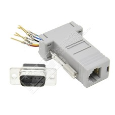 DB9-Male to RJ11/12 (6 wire) Modular Adapter, Gray