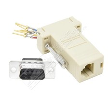 DB9 Male to RJ45 Female Modular Adapter, Ivory