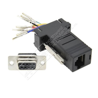 DB9 Female to RJ45 Modular Adapter, Black