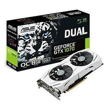 ASUS ASUS GeForce GTX 1070 O8GB Dual-fan OC Edition 4K/VR Ready Dual HDMI DP 1.4 Gaming Graphics Card (DUAL-GTX1070-O8G)
