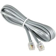 RJ11 (4C) Modular Telephone Cable Reverse, Silver (Choose Length)