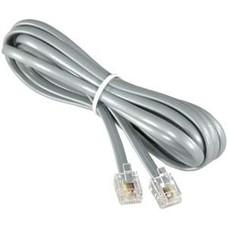 RJ11 (4C) Modular Telephone Cable Reverse, Silver (14 - 100ft.)