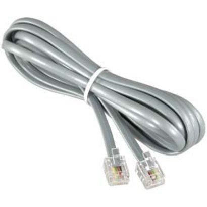 RJ11 (4C) Modular Telephone Cable Reverse, Silver (Choose Length)