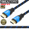 Gigacord Gigacord 2.0 HDMI Cable 18Gbps 4K HDR, 3D, 2160P, 1080P, Ethernet - 30AWG Braided 100% Copper w/ Audio Return(ARC), Black/Blue Braid (Choose Length)