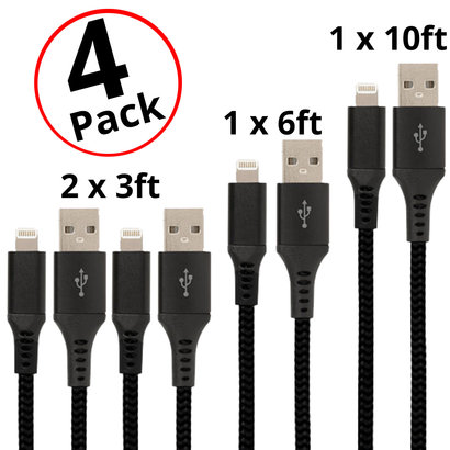 Gigacord Gigacord 4-Pack Black Braided iPhone Charging Cables