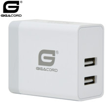 Gigacord Gigacord 2-Port USB 4.8A (2x2.4A) Wall Charger, Foldable Plug, White