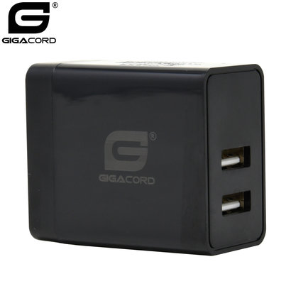 Gigacord Gigacord 2-Port USB 4.8A (2x2.4A) Wall Charger, Foldable Plug, Black