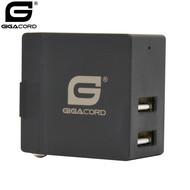Gigacord Gigacord 2-Port USB 3.1A Wall Charger, Foldable Plug, Black