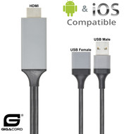 Gigacord 3in1 to HDMI Adapter Digital AV to HDMI 1080P iPhone USB Type-C Android Cable