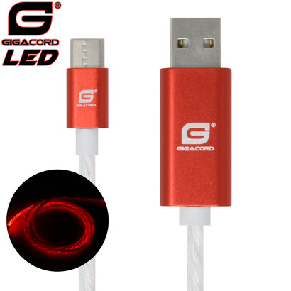 Gigacord Gigacord USB-C Type-C LED Flowing Cable, Red (Choose Length)