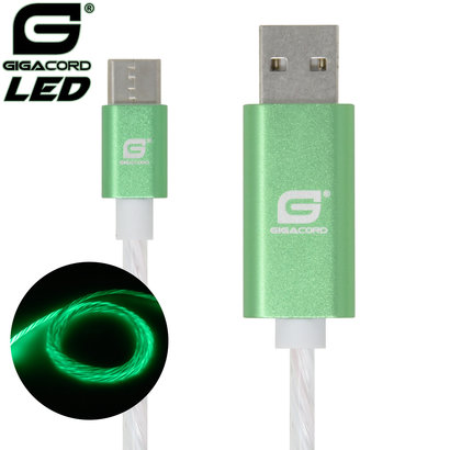 Gigacord Gigacord USB Type-C LED Flowing Cable, Green (3 - 6ft.)
