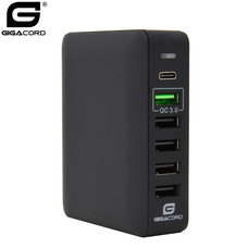 Gigacord Gigacord 6-Port USB Desktop Charger QC 53W, 5x USB, 1x Type-C