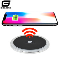 Gigacord Gigacord 10W 1.2A Zinc Alloy QC Wireless Charger, Blue LED Ring