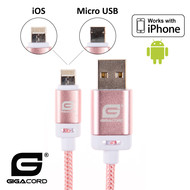 Gigacord Gigacord BlackARMOR2 iPhone Lightning / Micro USB 2-in-1 Charge/Sync Cable w/ Strain Relief, Nylon Braiding, Anodized Aluminum Connectors, Light Pink (Choose Length)