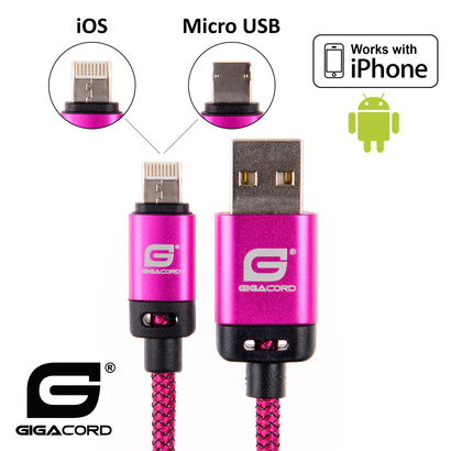 Gigacord Gigacord BlackARMOR2 iPhone Lightning / Micro USB 2-in-1 Charge/Sync Cable w/ Strain Relief, Nylon Braiding, Anodized Aluminum Connectors, Dark Pink (3 - 10ft.)