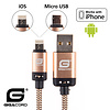 Gigacord Gigacord BlackARMOR2 iPhone Lightning / Micro USB 2-in-1 Charge/Sync Cable w/ Strain Relief, Nylon Braiding, Anodized Aluminum Connectors, Gold (Choose Length)