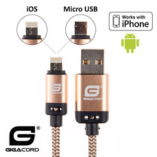 Gigacord Gigacord BlackARMOR2 iPhone Lightning / Micro USB 2-in-1 Charge/Sync Cable w/ Strain Relief, Nylon Braiding, Anodized Aluminum Connectors, Gold (3 - 10ft.)