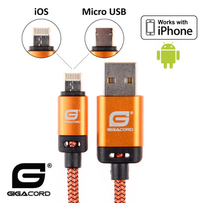 Gigacord Gigacord BlackARMOR2 iPhone Lightning / Micro USB 2-in-1 Charge/Sync Cable w/ Strain Relief, Nylon Braiding, Anodized Aluminum Connectors, Orange (3 - 10ft.)