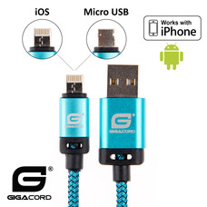 Gigacord Gigacord BlackARMOR2 iPhone Lightning / Micro USB 2-in-1 Charge/Sync Cable w/ Strain Relief, Nylon Braiding, Anodized Aluminum Connectors, Blue (3 - 10ft.)