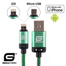 Gigacord Gigacord BlackARMOR2 iPhone Lightning / Micro USB 2-in-1 Charge/Sync Cable w/ Strain Relief, Nylon Braiding, Anodized Aluminum Connectors, Green (3 - 10ft.)