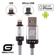 Gigacord Gigacord BlackARMOR2 iPhone Lightning / Micro USB 2-in-1 Charge/Sync Cable w/ Strain Relief, Nylon Braiding, Anodized Aluminum Connectors, Silver (3 - 10ft.)