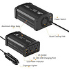 Gigacord Gigacord 300W Car Power AC Wall Outlet Inverter DC12V to AC110V Dual Outlet with 2-USB Ports, Black