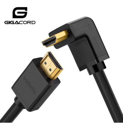 Gigacord Gigacord Basics 6Ft Right Angle (90 Degree Elbow) High Speed HDMI 1.4 Cable with Ethernet, Lifetime Warranty, Black