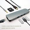 USB 3.1 Type-C to USB3.0x3+Micro SD+SD/MMC+HDMI+Gigabit+Type-C Charging