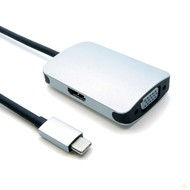 USB-C Male to VGA Female +HDMI Female Adapter