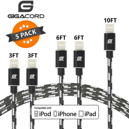 Gigacord Gigacord ClothARMOR iPhone/iPad/iPod Lightning 8 pin Charge/Sync Cable w/Strain Relief, Cloth Braiding, Ultra Slim Aluminum Connectors, Black/White 5 Pack (2x 3ft., 2x 6ft., 1x 10ft.)