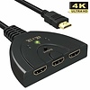 3 Port 3x1 HDMI Switch with Built-in HDMI 20cm Cable, Black, Non Powered