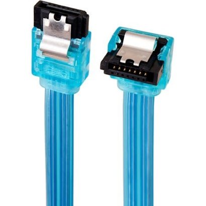 """18"""" SATA 6Gbps Cable w/Locking Latch (Straight to 90 Degree) UV Blue"""