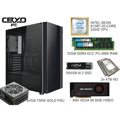 Cryo-PC Cryo-PC ATX Intel Xeon 6138F 2.0GHz 20-Core 40-Thread 32GB (2 x 16GB) DDR4 ECC, 500GB M.2 SSD + 4TB HDD RAID 0, RX Vega 56 8GB, Windows 10 Pro