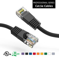 Cat5e UTP Ethernet Network Booted Cable 24AWG Pure Copper, Black (Choose Length)