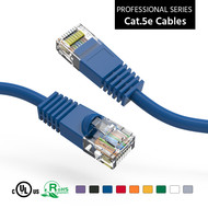 Cat5e UTP Ethernet Network Booted Cable 24AWG Pure Copper, Blue (Choose Length)