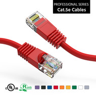 Cat5e UTP Ethernet Network Booted Cable 24AWG Pure Copper, Red (Choose Length)