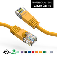 Cat5e UTP Ethernet Network Booted Cable 24AWG Pure Copper, Yellow (Choose Length)