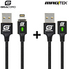 Gigacord Gigacord MAGtek Magnetic Charging/Syn Cable Kit, iPhone Lightning , 2x 1M Cable, 3A, Fast Charge, Braided Nylon, w/ LED Indicator