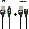 Gigacord Gigacord MAGtek Magnetic Charging/Syn Cable Kit, USB Type-C, 2x 1M Cable, 3A, Fast Charge, Braided Nylon, w/ LED Indicator