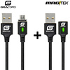Gigacord Gigacord MAGtek Magnetic Charging/Syn Cable Kit, USB Micro, 2x 1M Cable, 3A, Fast Charge, Braided Nylon, w/ LED Indicator