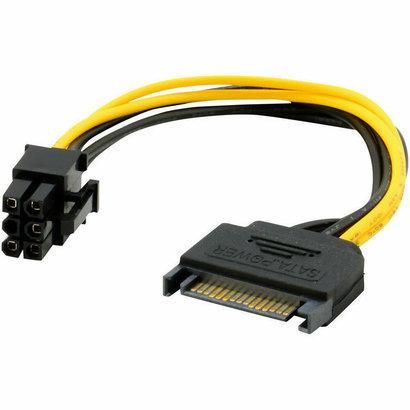SATA 8-Inch 15-Pin to 6-Pin PCI Express Card Power Cable