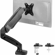 Height Adjustable Monitor Arm - Single Counterbalance Desk Mount for Screens up to 27 inches, Black
