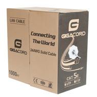 Gigacord Gigacord 1,000 Foot bulk Cat5e 24AWG Ethernet Cable Wire UTP Pull Box 1000ft 1K Cat-5e Style Gray